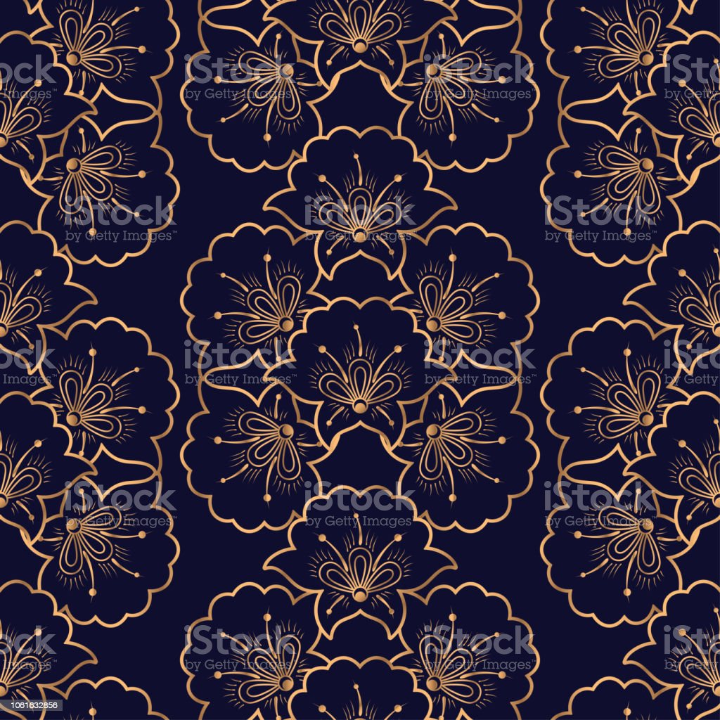 Luxury Background Vector Floral Royal Pattern Seamless Gold Black Design For Yoga Wallpaper