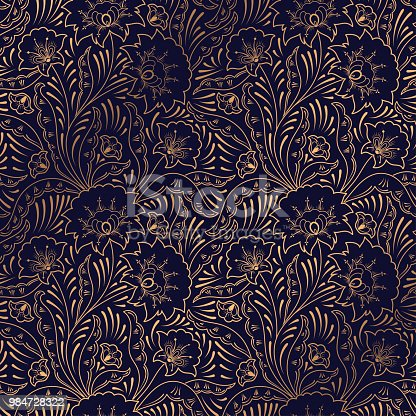Luxury background vector. Floral royal pattern seamless. Indian design for yoga wallpaper, beauty spa salon ornament, indian wedding party, birthday wrapping paper, save the date card, holiday gift.
