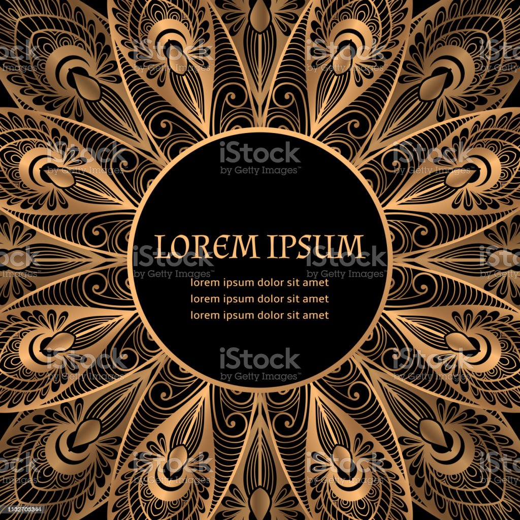 52a31538623 Luxury background vector. Gold black peacock feathers royal pattern frame.  Beautiful design - Illustration .