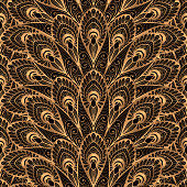Luxury background vector. Gold black peacock feathers royal pattern seamless. Golden fan design for yoga wallpaper, beauty spa salon ornament, indian wedding party card, birthday wrapping paper.