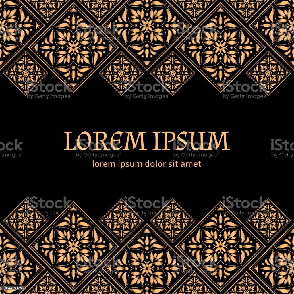 gold black tile royal pattern frame border damask design for christmas