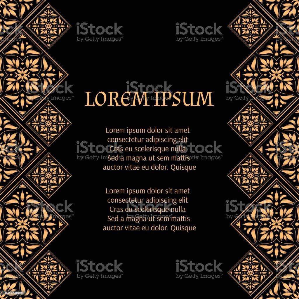 gold black tile royal pattern frame border vintage design for christmas