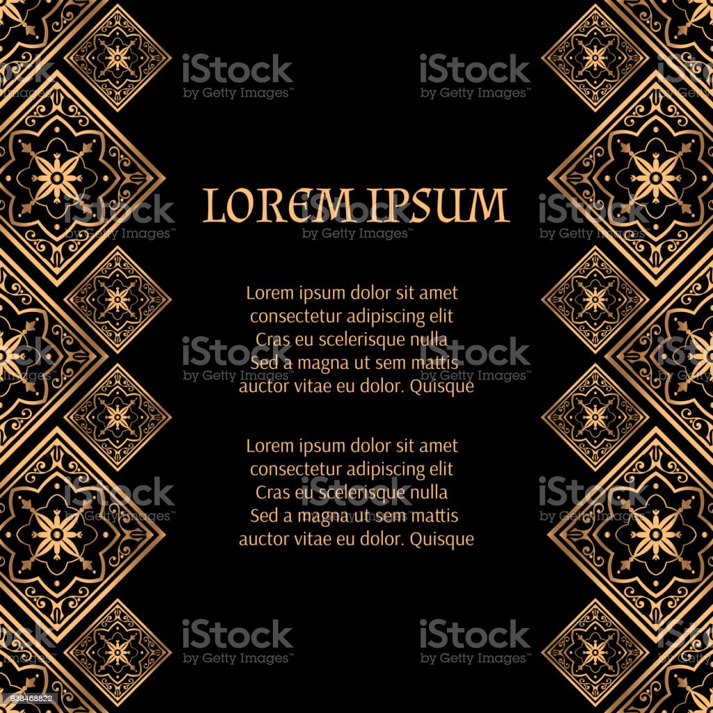 Luxury Background Vector Golden Royal Pattern Arabic Tile Frame