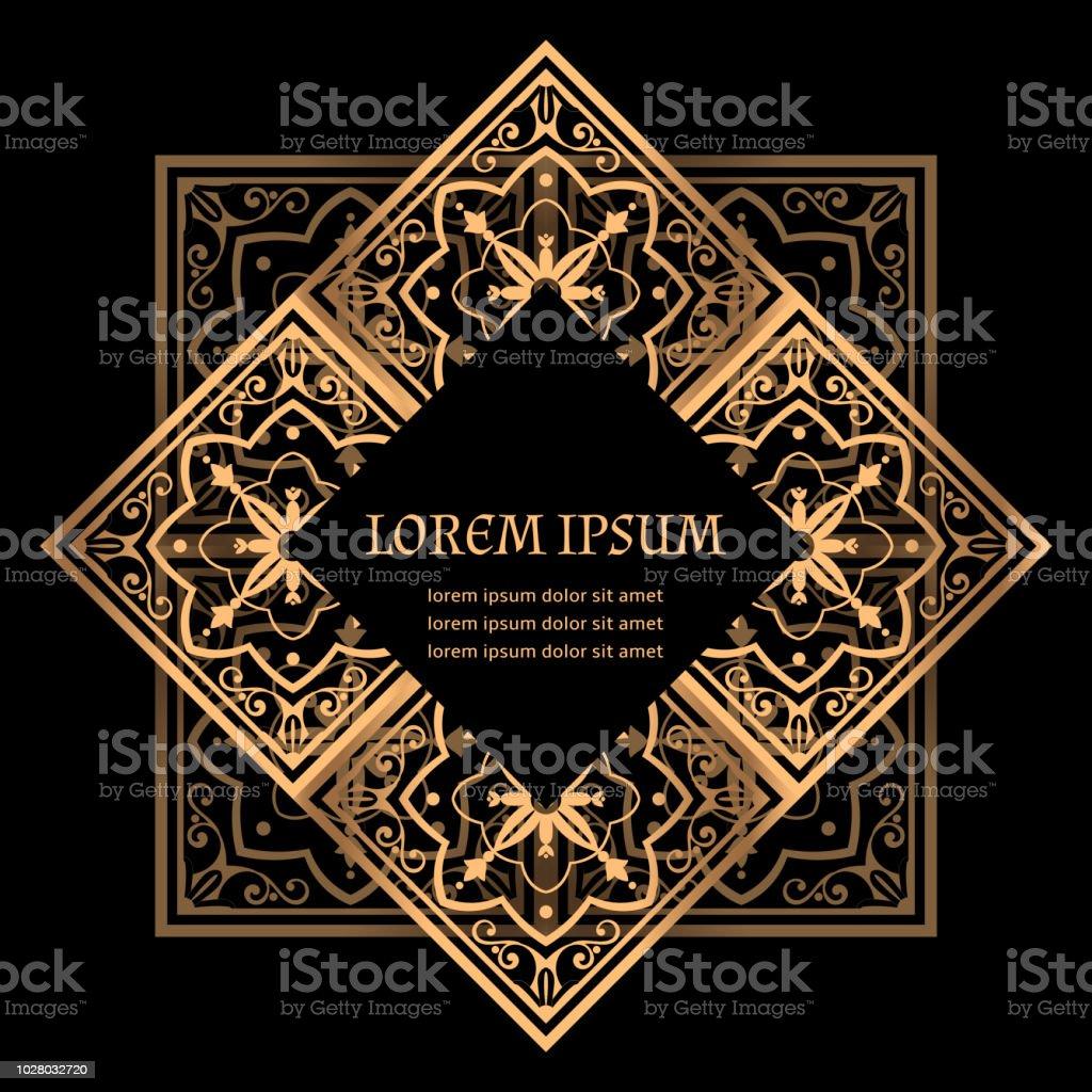 Luxury Background Vector Golden Royal Pattern Turkish Tile Frame