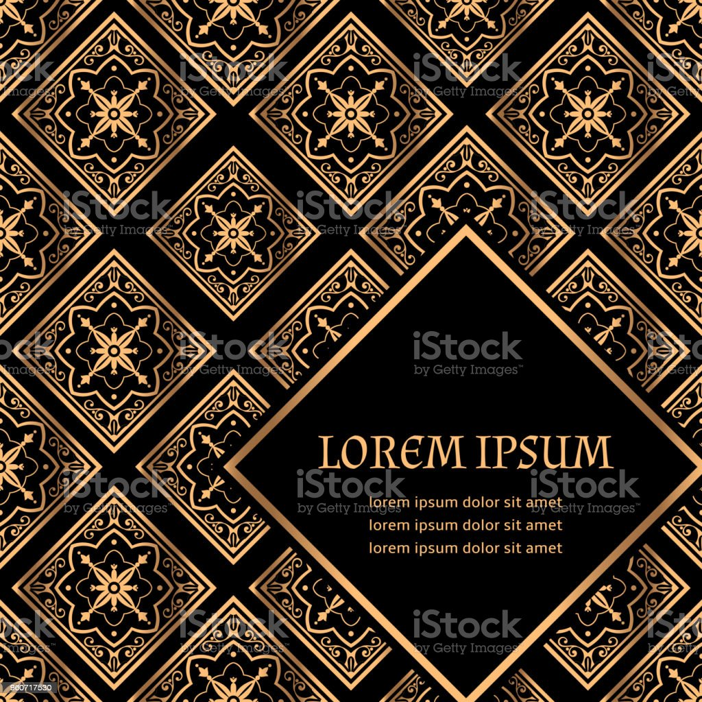 Luxury background vector. Golden royal pattern. Vintage art deco tile design for beauty spa client card, wedding ceremony, holiday ramadan greeting, menu covering template, christmas and new year. vector art illustration