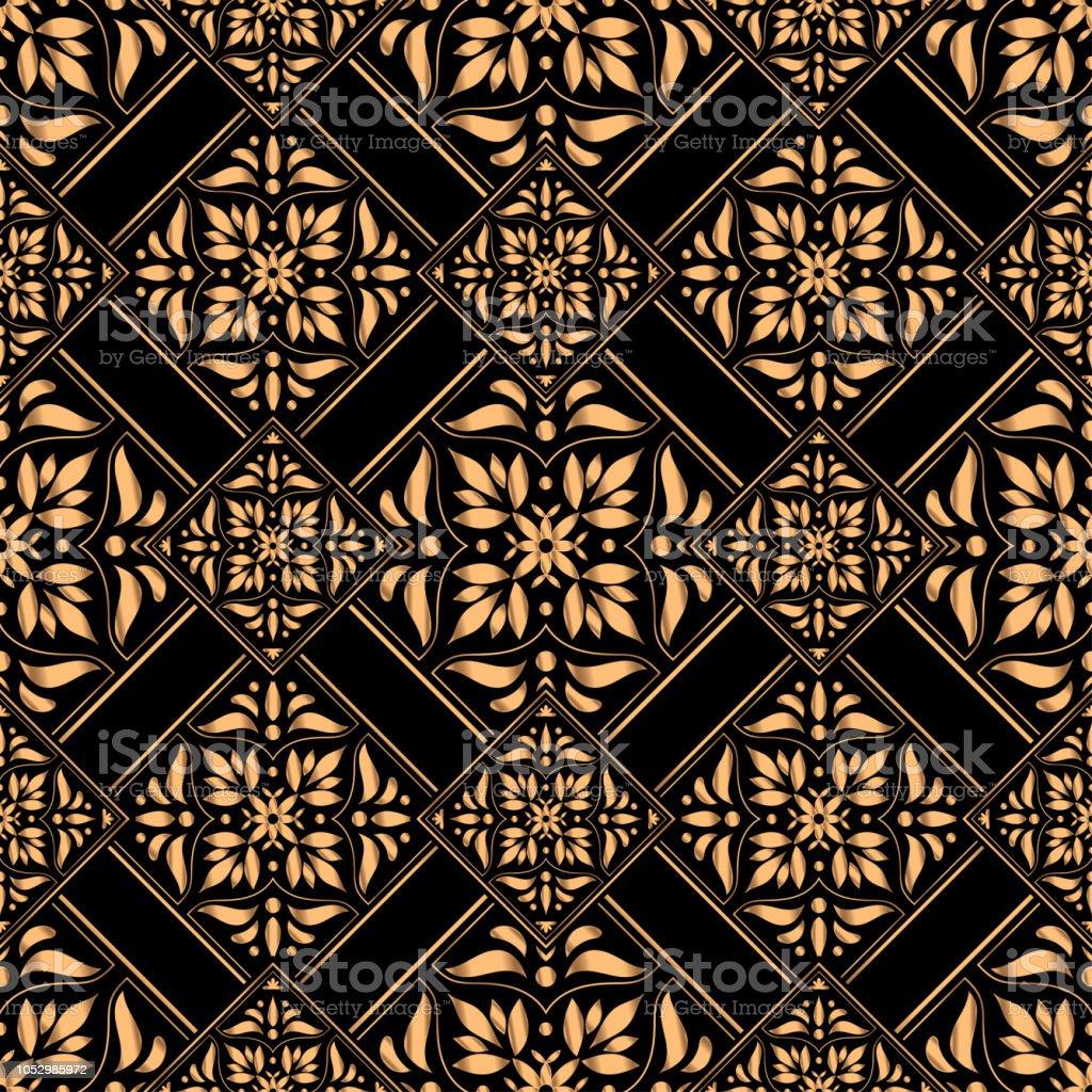 luxury background vector golden tile royal pattern seamless damask
