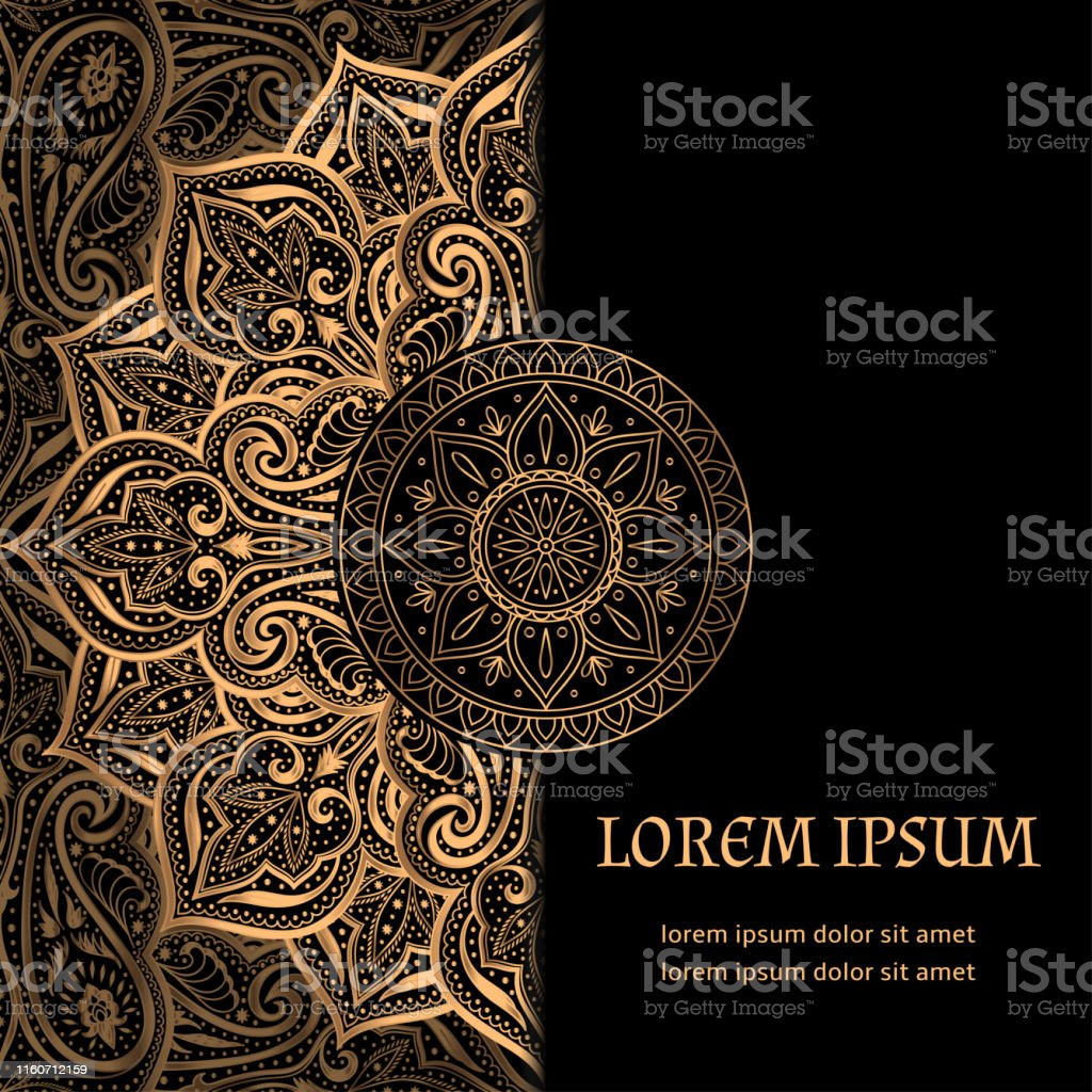 Christmas Party Save The Date Template.Luxury Background Vector Islamic Paisley Mandala Royal
