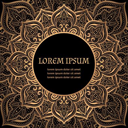 Luxury background vector. Islamic paisley mandala royal pattern card template. Victorian design
