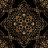 Luxury background vector. Oriental mandala royal pattern seamless. Moroccan for Christmas party, new year holiday wrapping paper, yoga wallpaper, beauty spa salon ornament, wedding invitation.
