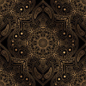Luxury background vector. Oriental mandala royal pattern seamless. Indian design for Christmas party, new year holiday wrapping paper, yoga wallpaper, beauty spa salon, wedding invitation.