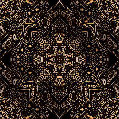 Luxury background vector. Oriental mandala royal pattern seamless. Indian design for Christmas party