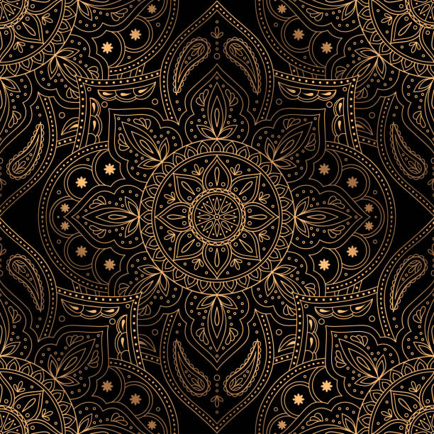 illustrazioni stock, clip art, cartoni animati e icone di tendenza di luxury background vector. oriental mandala royal pattern seamless. indian design for christmas party - sfondo matrimoni