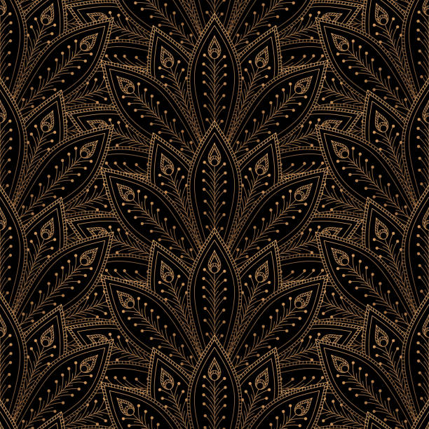 illustrazioni stock, clip art, cartoni animati e icone di tendenza di luxury background vector. peacock feathers fan royal pattern seamless. golden vintage design for yoga wallpaper, beauty spa salon ornament, bridal shower, indian wedding party, holiday christmas card. - sfondo matrimoni