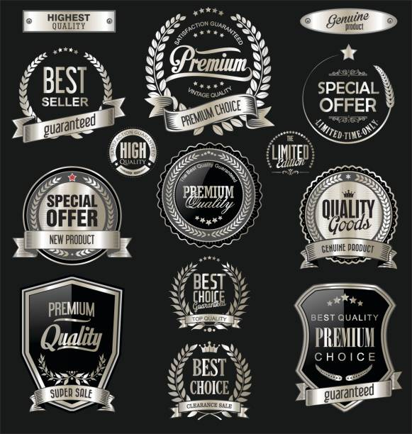 Luxury badges and labels with laurel wreath silver collection vector art illustration