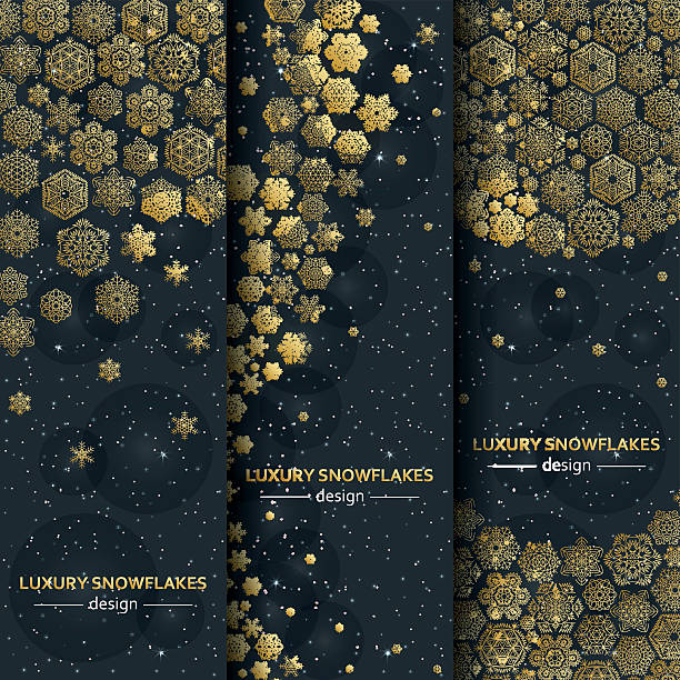 Luxury banners with golden snowflakes. Vector illustration. - ilustración de arte vectorial