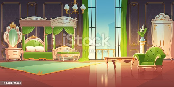 Luxury bedroom interior with furniture in romantic style. Vector cartoon illustration of vintage baroque room with canopy bed, mirror on dressing table and open glass doors to balcony