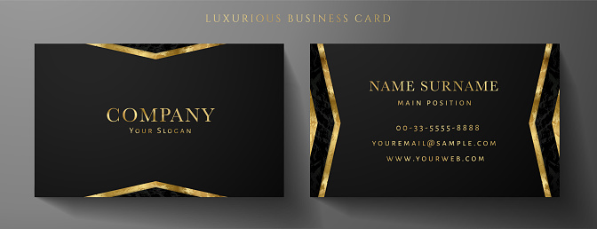 Luxury black Business card design template with gold Art Deco geometric lines (VIP Gift Card)