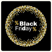 Luxury Black Friday background with gold glitter confetti frame for your decoration, can be used as invitation, card, gift, vip, voucher or certificate etc.