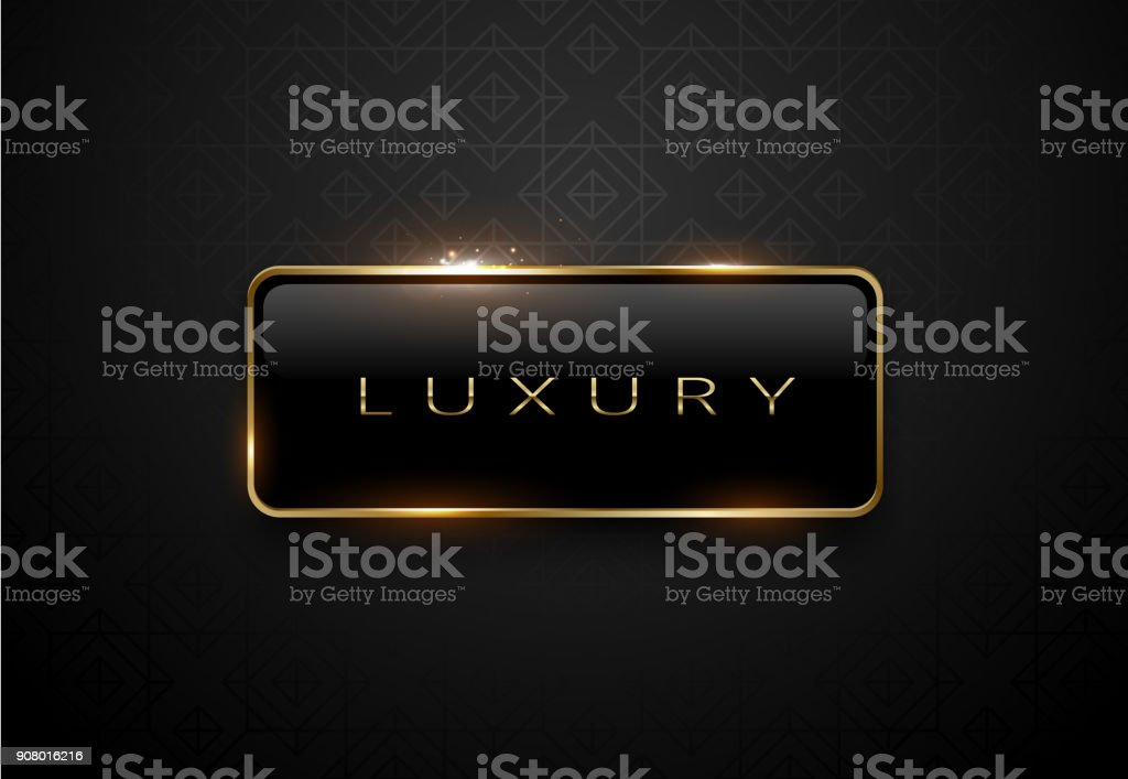 Luxury black label with golden frame sparks on black background. Dark premium logo template. Vector illustration. vector art illustration