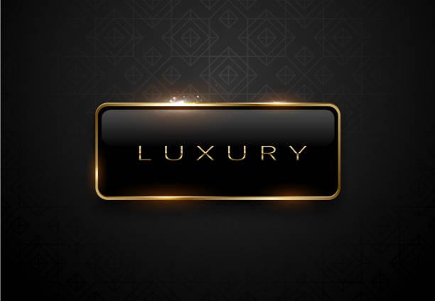 bildbanksillustrationer, clip art samt tecknat material och ikoner med luxury svart etikett med gyllene ram gnistor på svart bakgrund. mörk premium logotyp mall. vektorillustration. - luxury