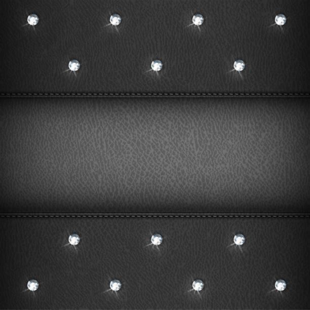 luxus-hintergrund mit diamanten, schwarzes leder - modeschmuck stock-grafiken, -clipart, -cartoons und -symbole