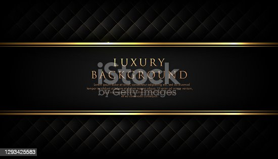 istock Luxury black stripe with gold border on the dark background. VIP invitation banner. Premium and elegant. 1293425583