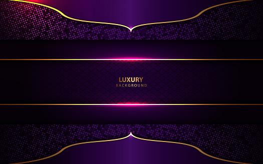 Luxury blue purple background with golden decoration