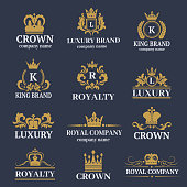 Luxury boutique calligraphy logo best selected collection hotel brand identity and crest heraldry stamp premium insignia design crown vector illustration