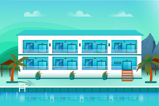 Luxury Boutique Hotel Mansion with Swimming Pool Stock Illustration