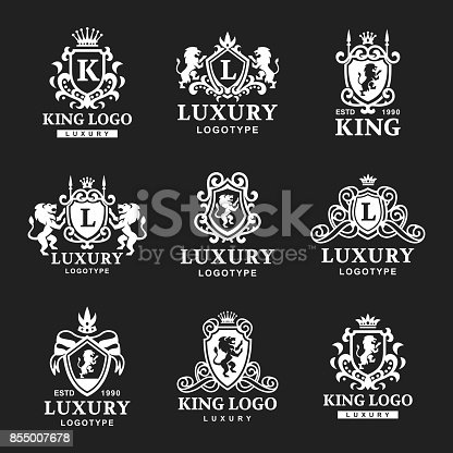 istock Luxury boutique Royal Crest high quality vintage product heraldry logo collection brand identity vector illustration 855007678