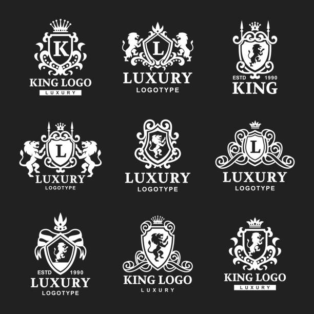 Luxury boutique Royal Crest high quality vintage product heraldry logo collection brand identity vector illustration vector art illustration