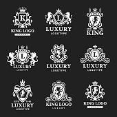 Luxury boutique Royal Crest high quality vintage product heraldry logo collection brand identity vector illustration
