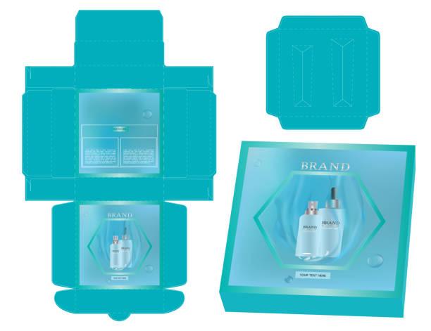 luxus-box-design mit würfel schneiden tablett-vorlage und mock-up-box. - stanzen stock-grafiken, -clipart, -cartoons und -symbole