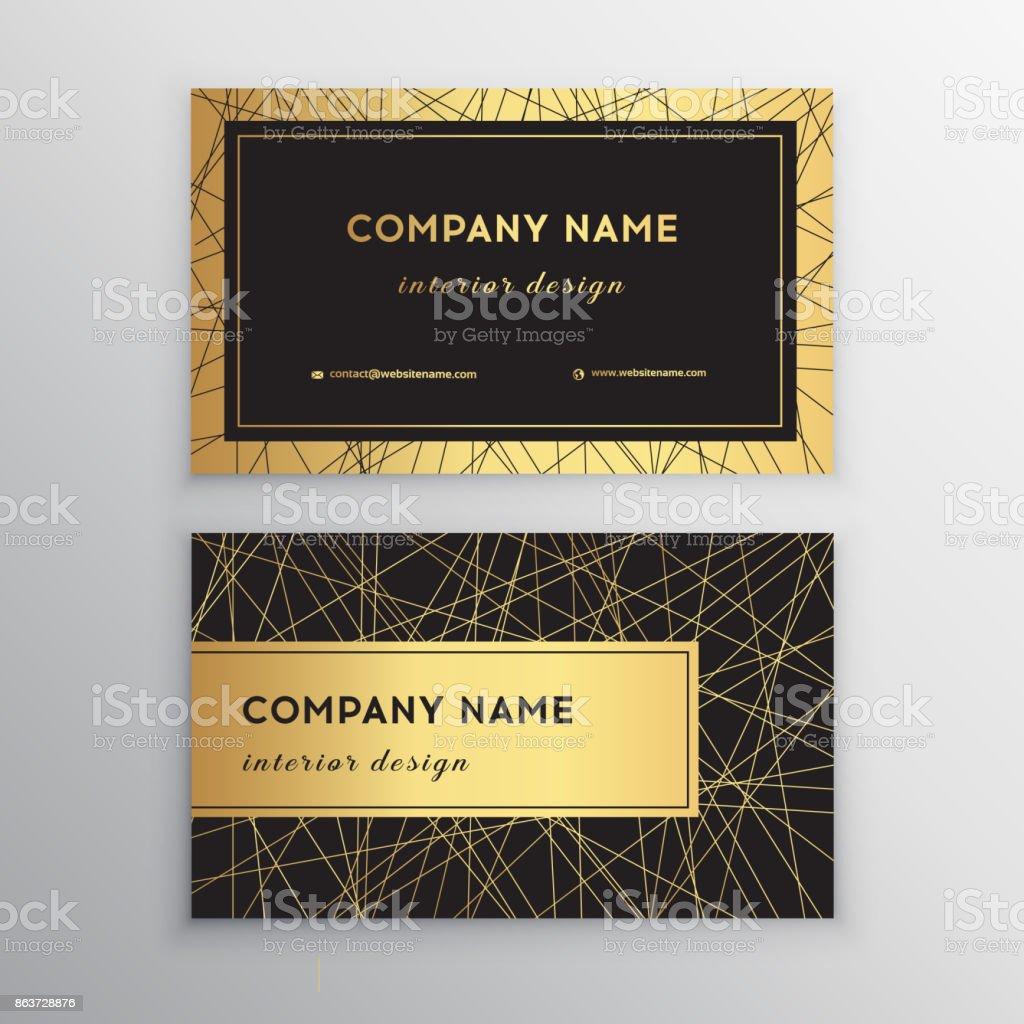 Luxusvisitenkarte Gold Und Schwarze Horizontale