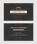 Illustration of a set of luxury vintage business card templates, with flourish patterns, hand drawn floral frames and ornaments, front and back side