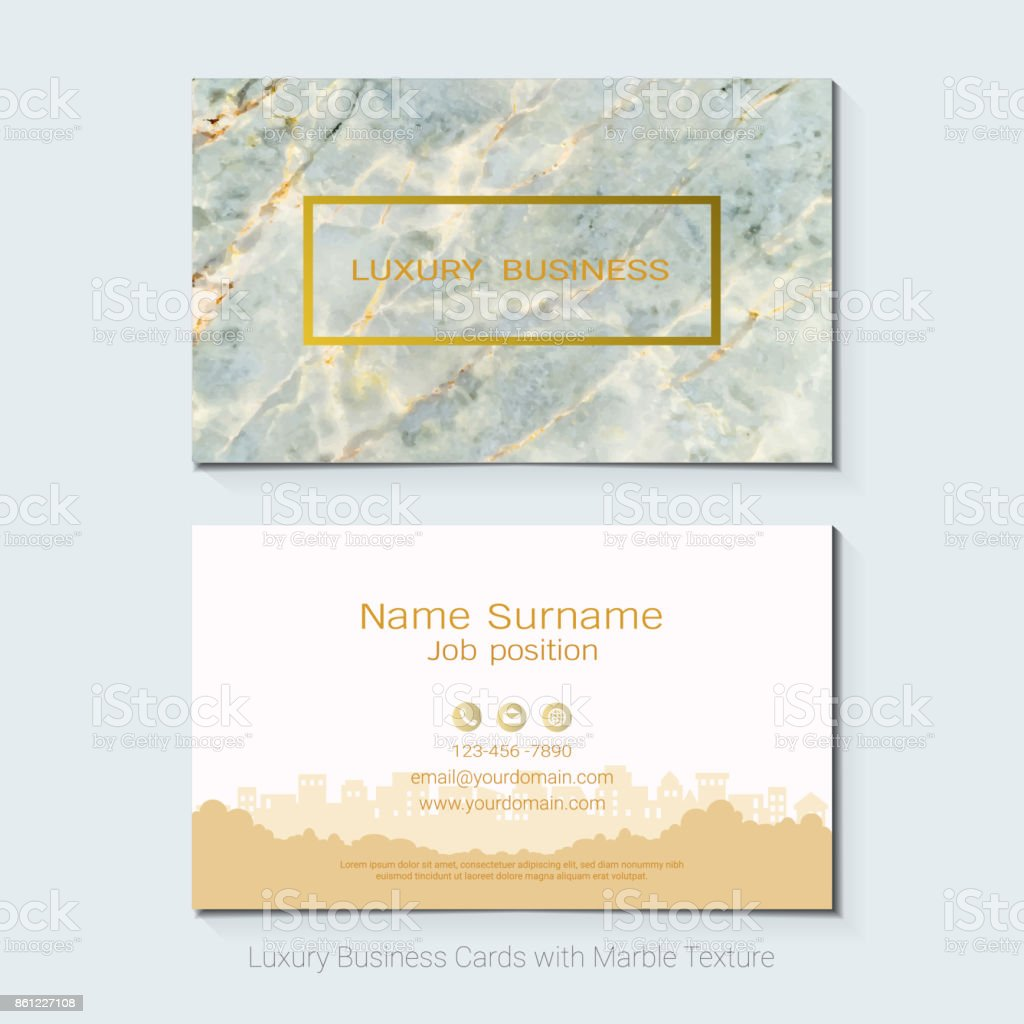 Luxury business cards vector template banner and cover with marble luxury business cards vector template banner and cover with marble texture and golden foil details reheart Image collections
