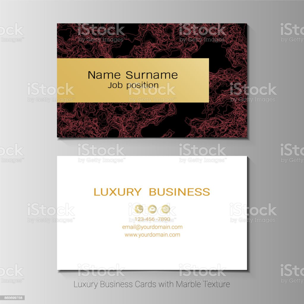 Luxury Business Cards Vector Template Simple Style Also Modern And Elegant With Marbling Texture Imitation