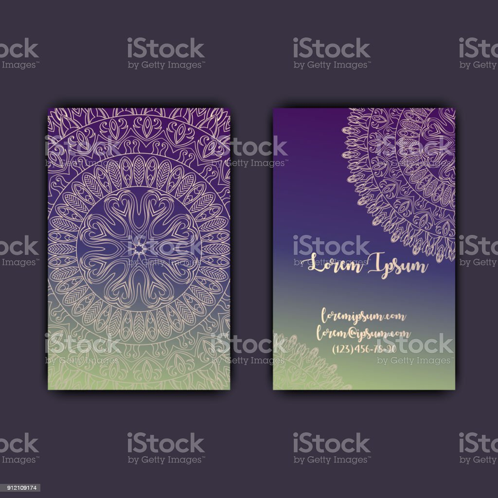 Luxury business cards with floral mandala ornament vintage luxury business cards with floral mandala ornament vintage decorative elements royalty free luxury business reheart Gallery