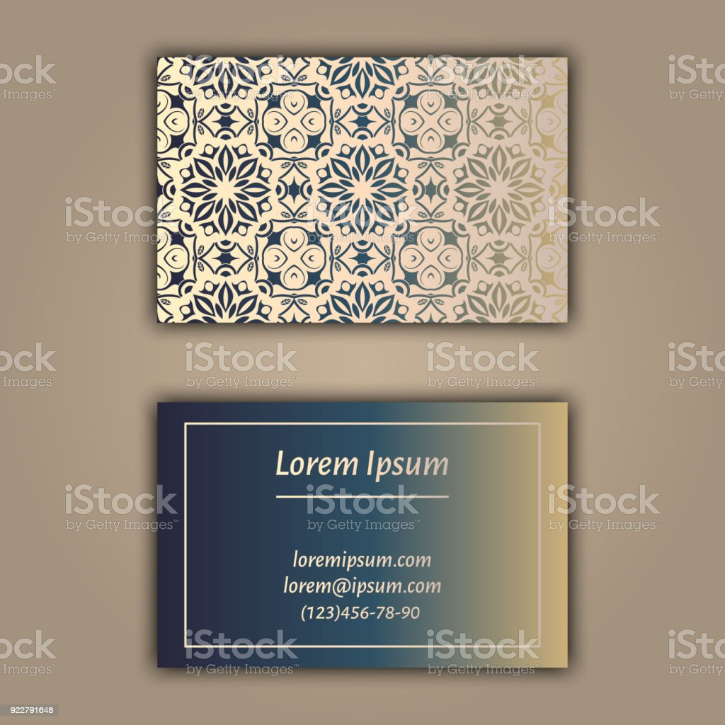Luxury Business Cards With Floral Mandala Ornament Vintage ...