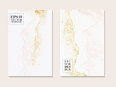 Luxury business cards with marble texture and gold, pink tender decoration isolated on white  background, vintage style design for cover, banner, invitation, wedding decoration 2019.