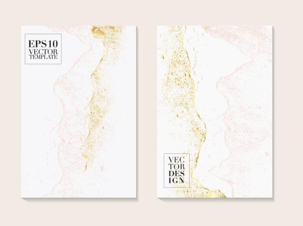 stockillustraties, clipart, cartoons en iconen met luxe visitekaartjes met marmeren textuur en goud, roze tedere decoratie geïsoleerd op witte achtergrond, vintage style design voor cover, banner, uitnodiging, bruiloft decoratie 2019 - marmeren