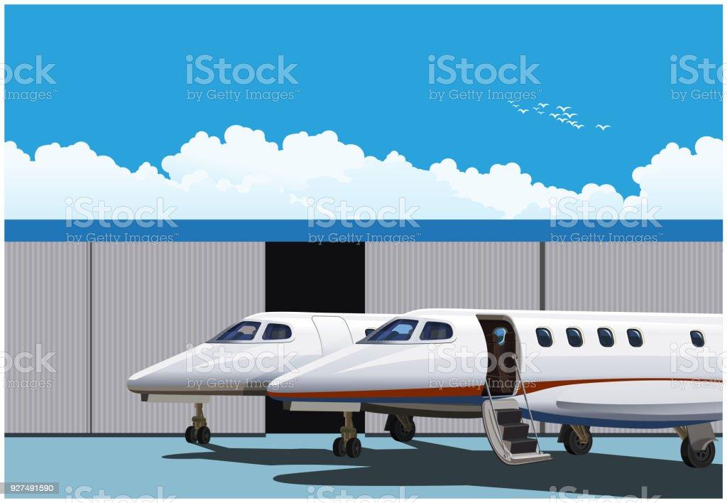 Luxury business jets vector art illustration