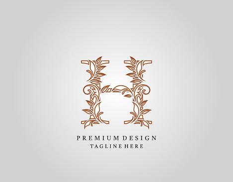 Luxury Calligraphic H Letter logo design