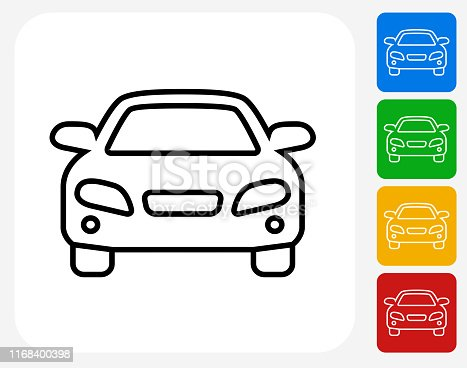 Luxury Car Front View Icon. This 100% royalty free vector illustration is featuring a blue square button with a drop shadow and the main icon is depicted in white. There are 8 additional alternative variations in different colors on the right.