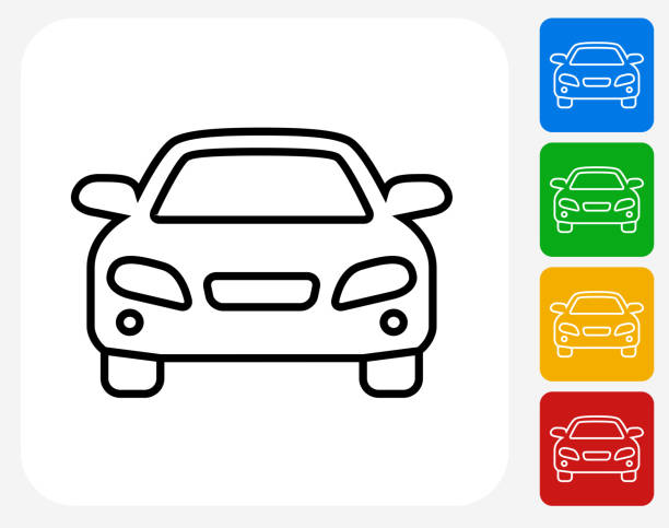 Luxury Car Front View Icon vector art illustration
