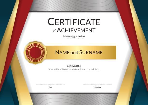 ilustrações, clipart, desenhos animados e ícones de modelo de certificado de luxo design de diploma de graduação ou conclusão - molduras de certificados e premiações