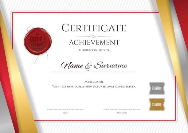 高級証明書テンプレート卒業または修了のディプロマ デザイン - 証明書と表彰のフレーム点のイラスト素材/クリップアート素材/マンガ素材/アイコン素材