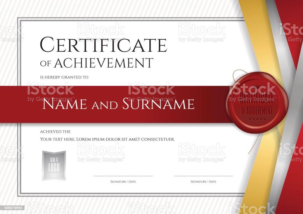 卒業または修了のディプロマ デザイン高級証明書テンプレート ベクターアートイラスト