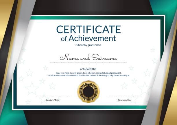 卒業または修了のディプロマ デザイン高級証明書テンプレート - 証明書と表彰のフレーム点のイラスト素材/クリップアート素材/マンガ素材/アイコン素材