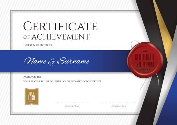 ilustrações, clipart, desenhos animados e ícones de modelo de certificado de luxo, projeto do diploma de graduação ou conclusão - molduras de certificados e premiações